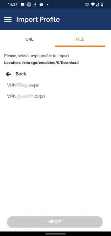 OpenVPN Android - import konfigurace