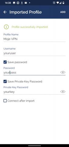 OpenVPN Android - hesla