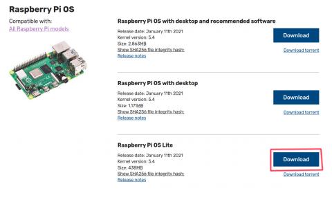 Donwload Raspberry OS