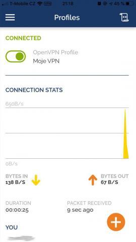 OpenVPN iOS - Připojeno