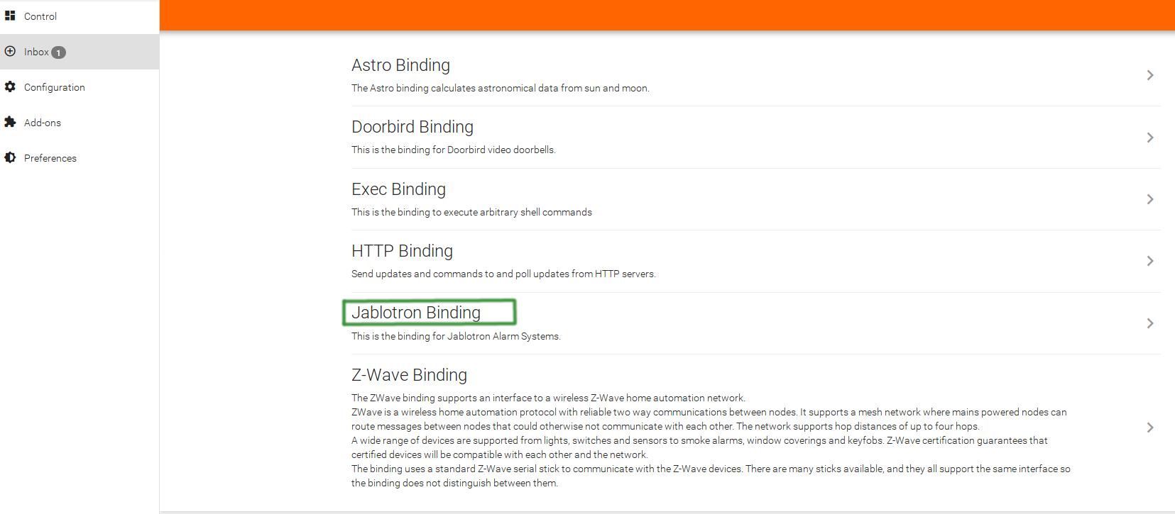 OpenHAB - Jablotron Binding